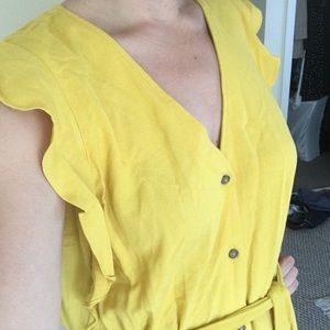 a new day Dresses - Mustard button down dress with POCKETS